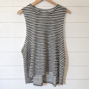 TOBI Striped Wide Arm Cotton Blend Knit Tank